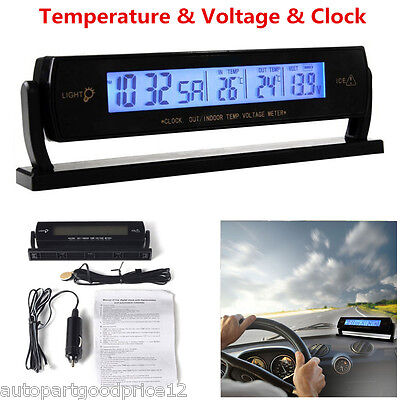Auto Car Temperature Voltage Clock Alarm Digital LCD Thermometer Meter Monitor