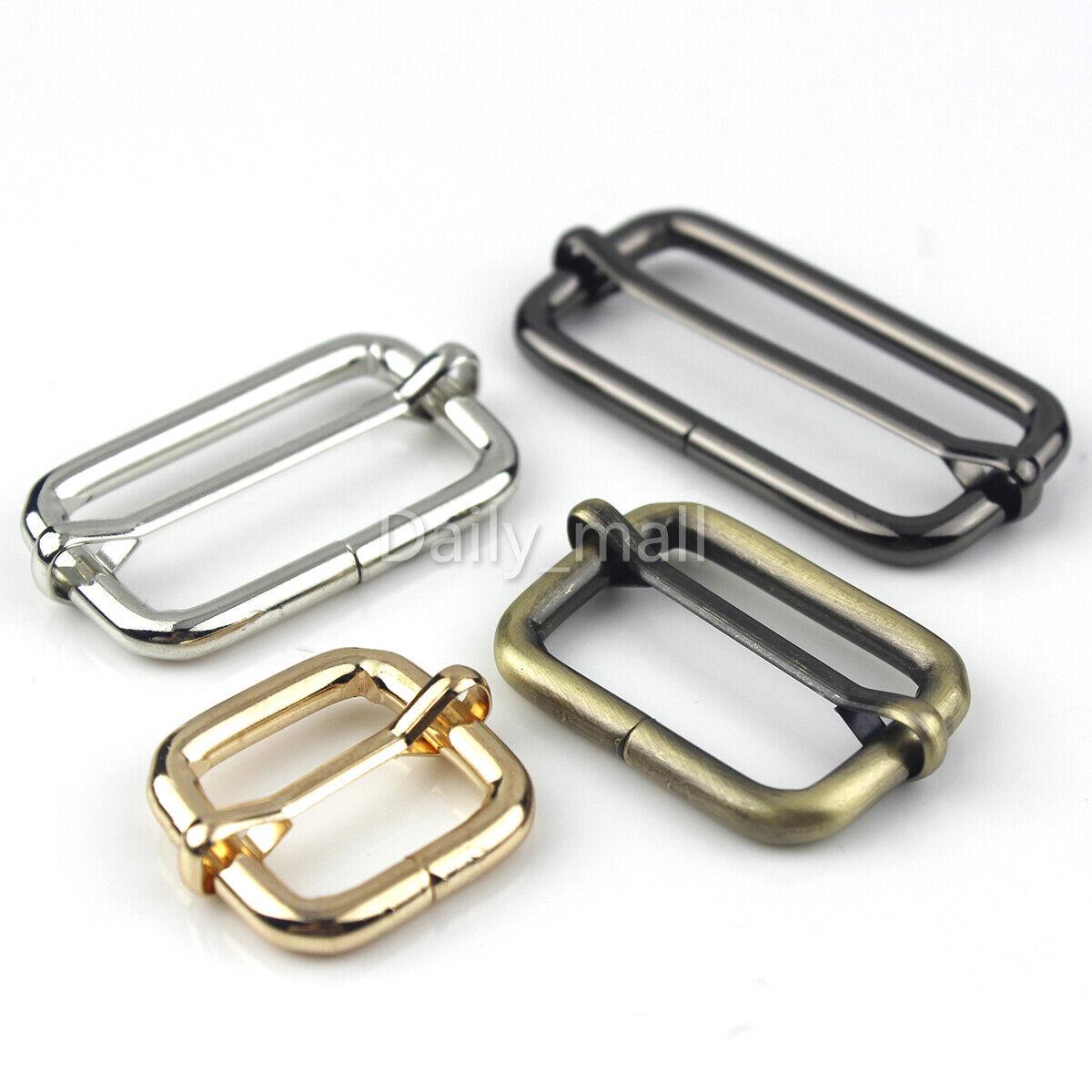 """Metal sliding bar strap adjuster buckles slider 3/4"""" 1"""" 1 1/"""