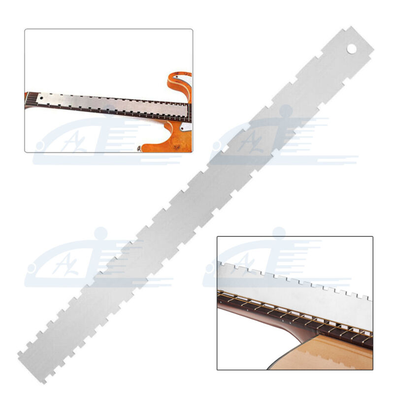 Guitar Neck Notched Ruler Fingerboard Straight Edge Check Fret Luthier Tools Kit