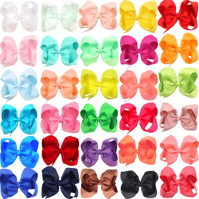 "30pcs Lots 6"" Big Hair Bows Alligator Clips for Baby Girls Cheer Bows Hair Clips"