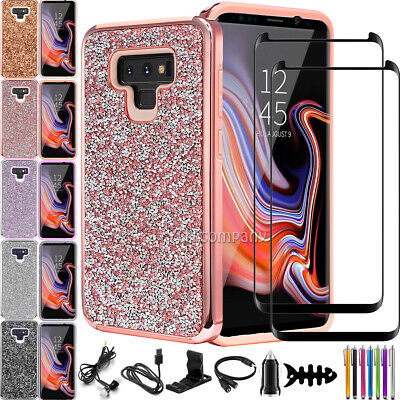 For Samsung Galaxy Note 10 Plus 8 9 Glitter Bling Rubber Hard Phone Cover Case