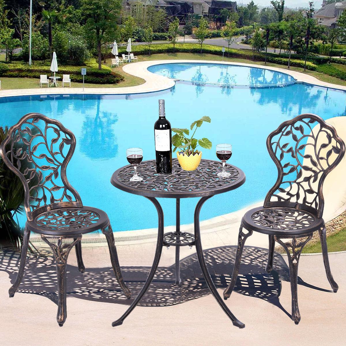 3tlg Antik Bistroset Balkonset Gartenmöbel Sitzgruppe Bistrotisch Tisch 2 Stühle