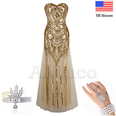 1920s Flapper Dress Gatsby Gown Prom Lady Party Cocktail Evening Wedding - 1920s Party Dress