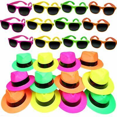 German Trendseller®- 12er Neon Party - Set 6 Neon Hüte + 6 Neon Sonnenbrille