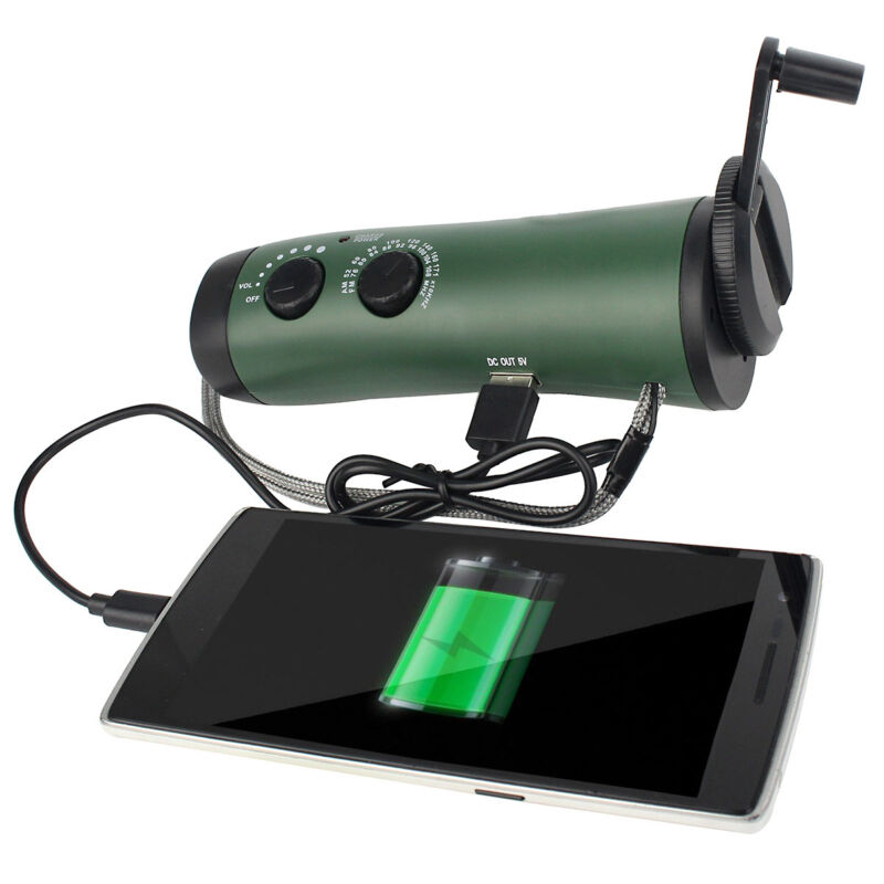 Portable Hand Crank Emergency Flashlight FM/AM Siren Radio &Cell Phone