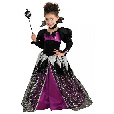 Spider Queen Costume Kids Vampire Girl Halloween Fancy Dress