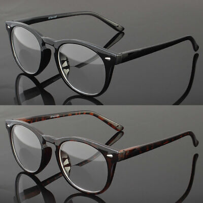 New Mens Womens Bifocal Reading Glasses Retro Round Vintage Spring Temple (Circular Glasses Men)