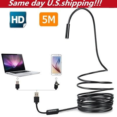5m 6 Led Semi-rigid Usb Endoscope Waterproof Borescope Inspection Hd Camera Usa