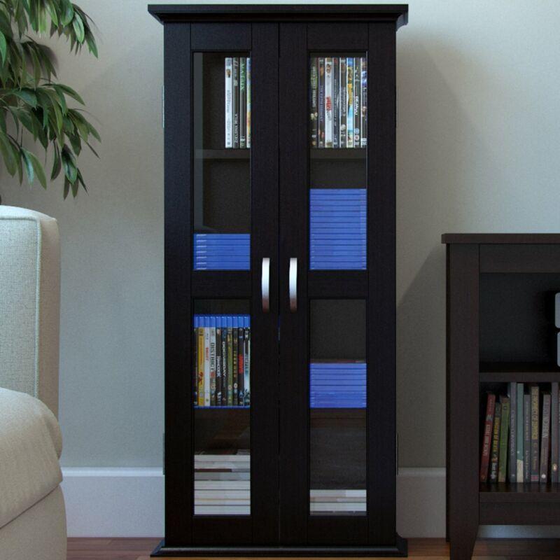 Ryan Rove Kirkwell Wood DVD Storage Shelves Tower - Media Cabinet Organizer, ...