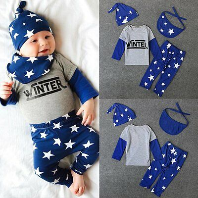(4pcs Newborn Infant Kids Baby Boy Girl T-shirt+Pants+Hat+Bib Clothes Outfits Set)