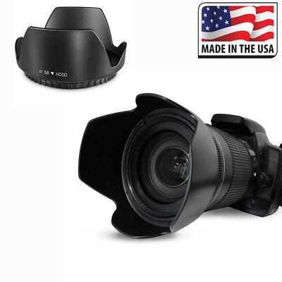 Professional Flower Petal Lens Hood 58MM Black For Canon Nikon Sony Camera