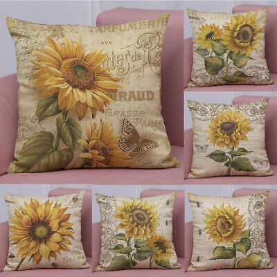 Decorative Cushion Design - Retro Design Sunflower Pattern Throw Pillow Case Decorative Sofa Cushion Cover