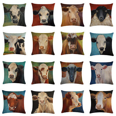 - Farm Cow Pattern Soft Throw Pillow Covers Cushion Covers Decorative Pillowcase
