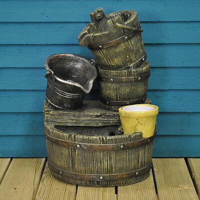 Cascading Barrels Outdoor Garden Water Feature (Mains Powered) by Gardman