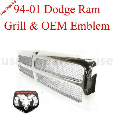 New 1994-2001 For DODGE RAM 1500 2500 3500 CHROME GRILL & OEM CH1200178 2PCS