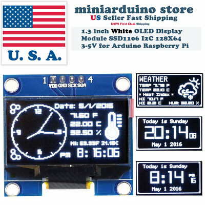 1.3 I2c Iic 128x64 Led Oled Lcd Display Module Arduino White Color Ssd1106 Us
