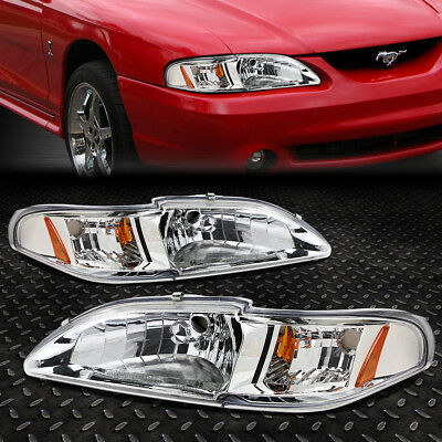 FOR 1994 1998 FORD MUSTANG SN 95 CHROME HOUSING AMBER CORNER HEADLIGHTLAMP SET