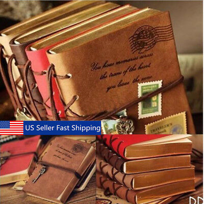 - Retro Classic Vintage Leather Bound Blank Pages Notebook Note Journal Diary USA