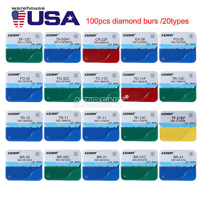 20kits100pc Azdent Dental Diamond Burs For High Speed Handpiece Medium Fg 1.6mm