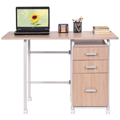 Folding Computer Laptop Desk Wheeled Home Office Furniture With 3 Drawers