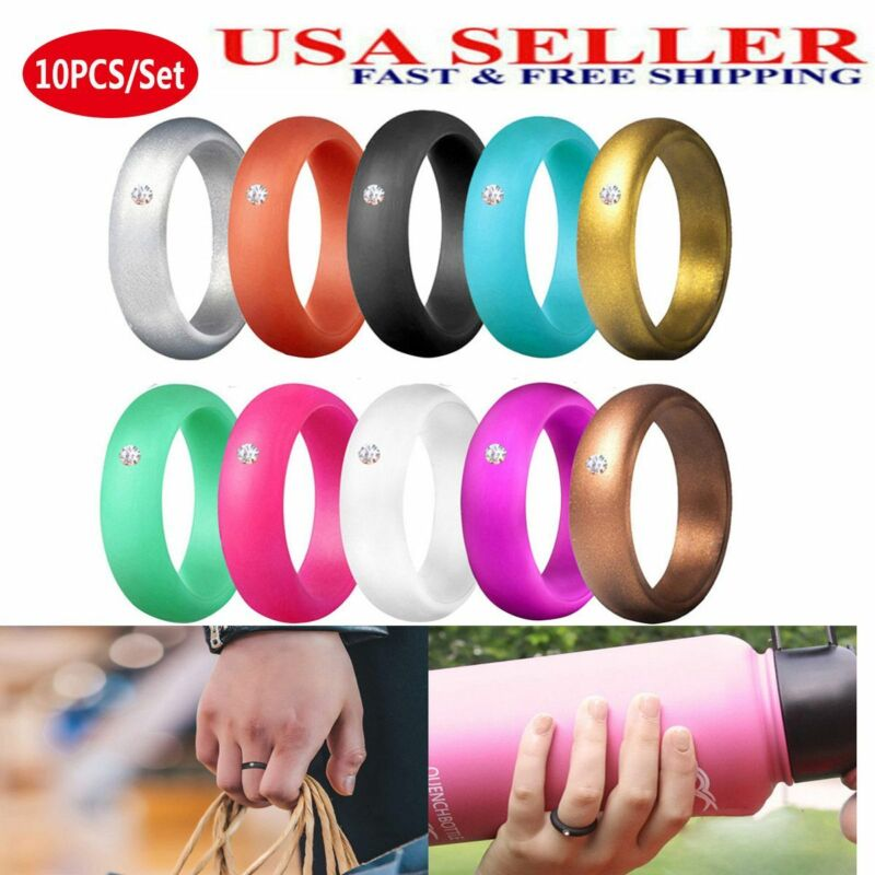 Silicone Wedding Ring Women Thin Rubber Band Stackable Engagement Flexible Sport