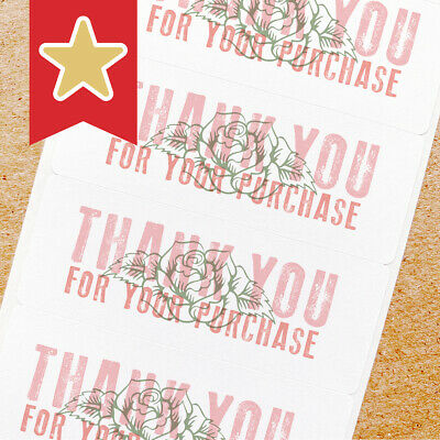 Thank You Labels Stickers For Online Shop Sellers 100ct - Rose Stamped