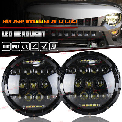2X 7 Round CREE LED Headlights Lamp w DRL For Jeep Wrangler JK JKU TJ CJ LJ