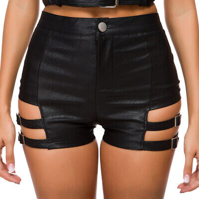 Sexy Girl Women Faux Leather Shorts Pants Punk Rock Pole Low Waisted Hot Pants Sexy Leather Hot Pants