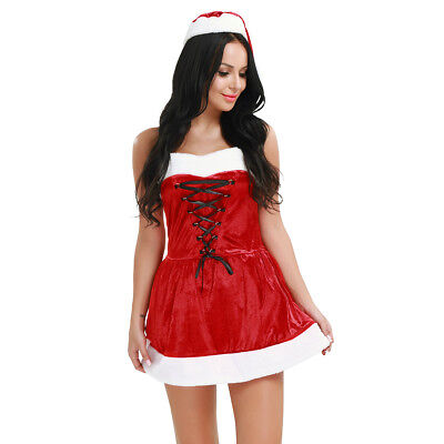 Women's Santa Claus Christmas Costume Dress Sexy G-string Cosplay Party Outfits