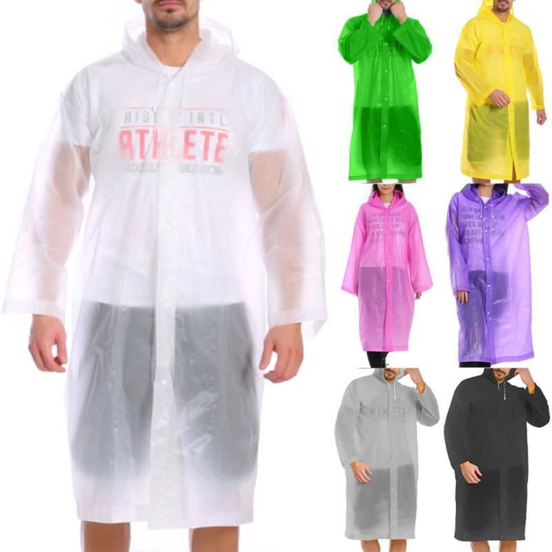 Mens Womens Waterproof Jacket Hooded Raincoat Rain Coat Ponc