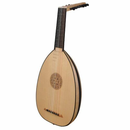Muzikkon 7 Course Heartland Renaissance Lute, Left Handed Variegated Maple Ebony