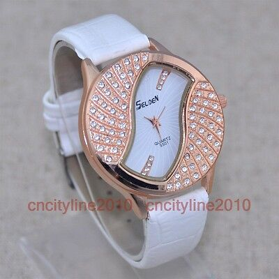 Luxury Diamond Dial Analog Leather Band Fashion Women Lady Quartz Wrist Watch