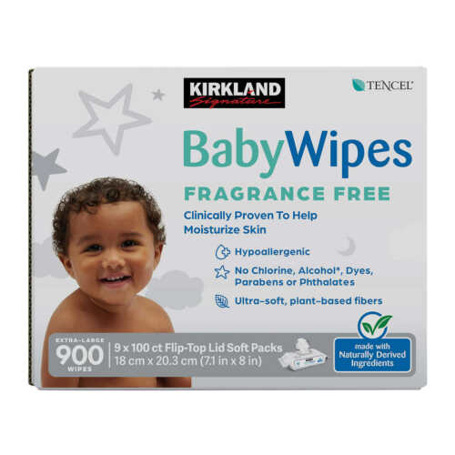 Kirkland Signature Baby Wipes Fragrance Free, 900 count
