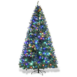 9ft Pre Lit Artificial Christmas Tree Premium Hinged W 1000 Led Lights Stand
