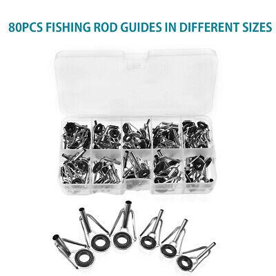 80pc Sea Fishing Rod Guide Rings Mixed Size Ceramic Fish Pole Repair Tips Tool