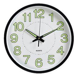 Night Light Clock,Foxtop Luminous Wall Clock Glowing in Dark Silent movement 12