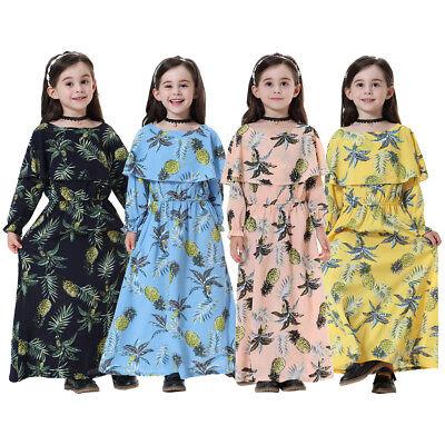 Muslim Girls Maxi Dress Flower for Kid long Sleeve Abaya Islamic Robe Gow - Pageant Robes