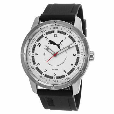 - Puma PU104111004 Men's Quartz White Dial Black Rubber Band Watch
