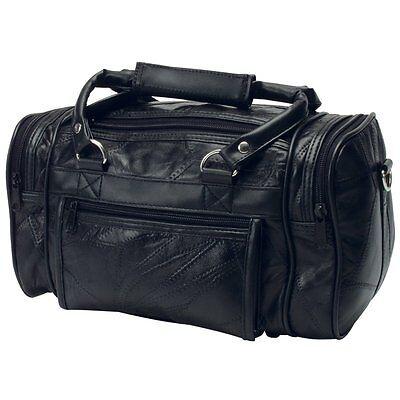 "12""  Black Leather Mens Toiletry Bag Shaving Kit Travel Dopp Organizer"