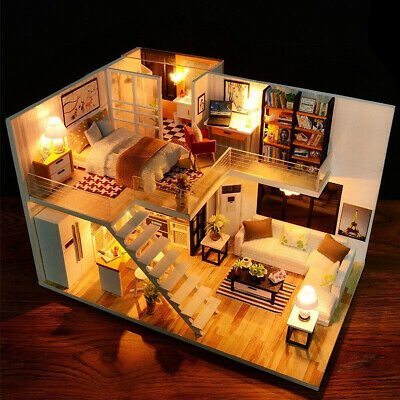 DIY Dollhouse Loft Apartment Wooden Doll House Furniture LED Xmas Birthday Gift