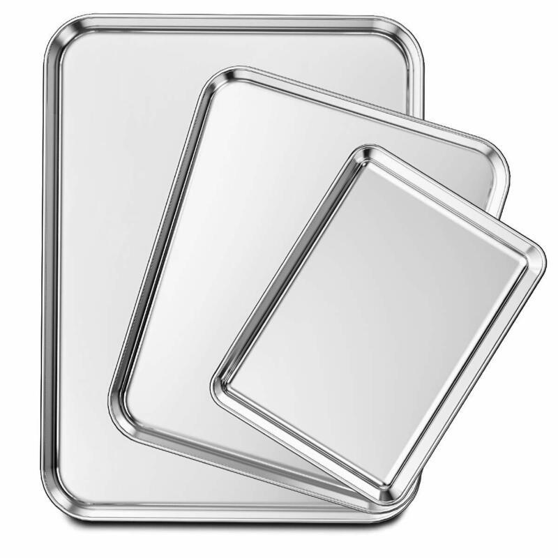 Stainless Steel Baking Pan 3 Piece Large Cookie Sheet Set fo