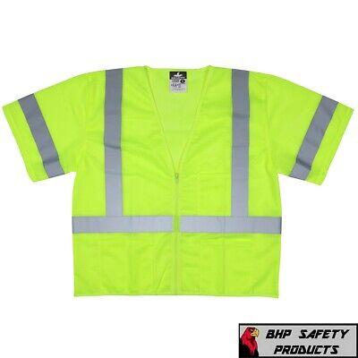 Class 3 Iii Hi-vis Lime Traffic Safety Vest Reflective Mesh Construction M-4xl