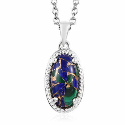 """Stainless Steel 925 Sterling Silver Malachite Pendant Necklace Size 20"""" Ct 2.3"""