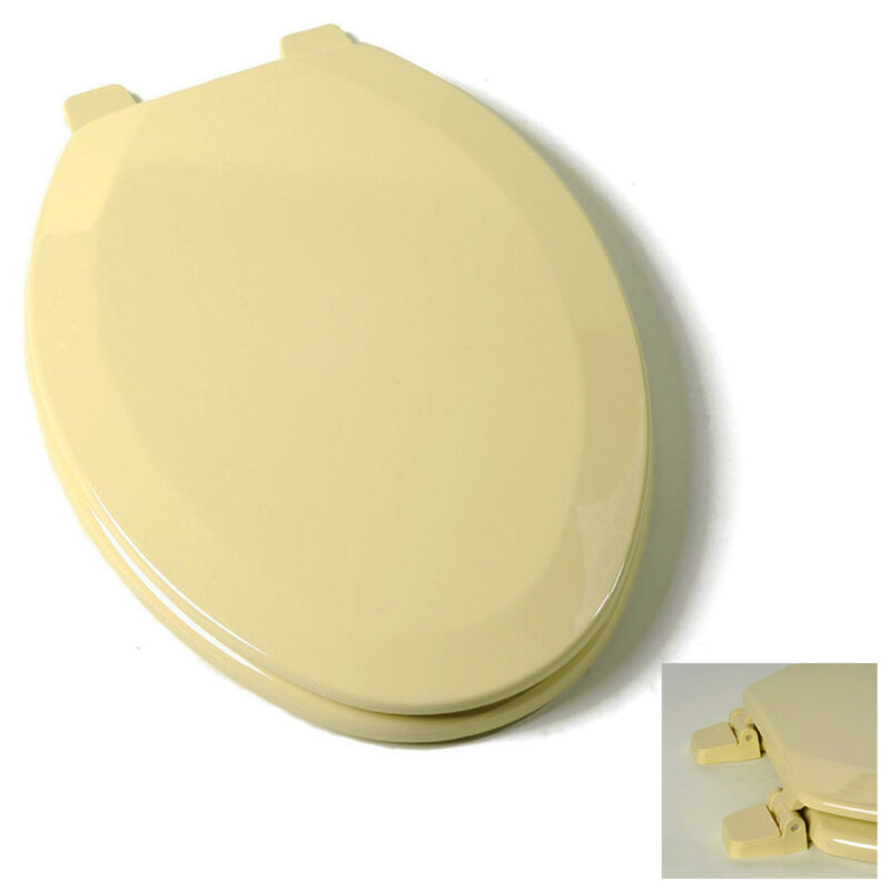 Deluxe Citron Yellow Elongated Wood Toilet Seat, Adjustable Hinges