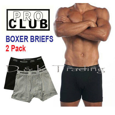 2 Pack PRO CLUB Boxer Briefs Cotton Proclub Men's Underwear Big and Tall S~7XL 2 Pack Cotton Boxer