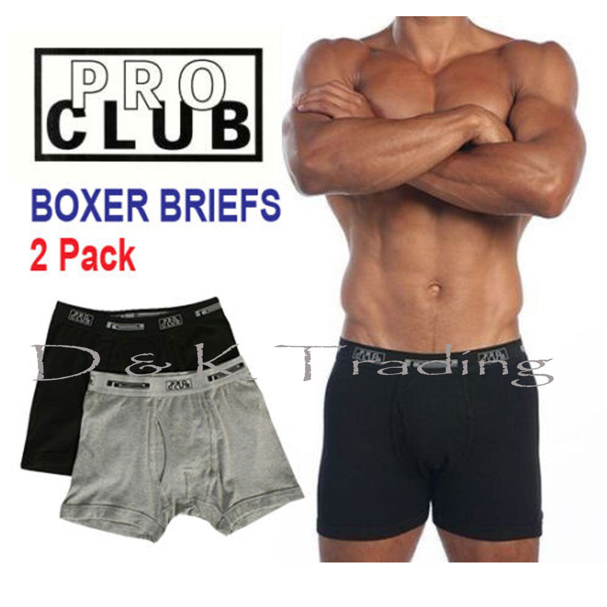 2 Pack PRO CLUB Boxer Briefs Cotton Proclub Men's Underwear