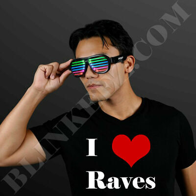 *BURNING MAN* RECHARGEABLE LED RAVE GLASSES WITH SOUND REACTIVE LIGHTS *FUN*](Reactive Sunglasses)