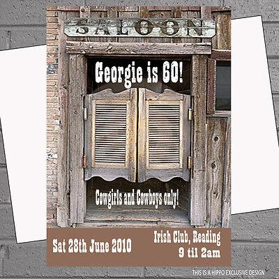 Rodeo Cowboy Saloon Themed Birthday Party Invitations x 12 + free envs H0032 - Cowboy Themed Birthday