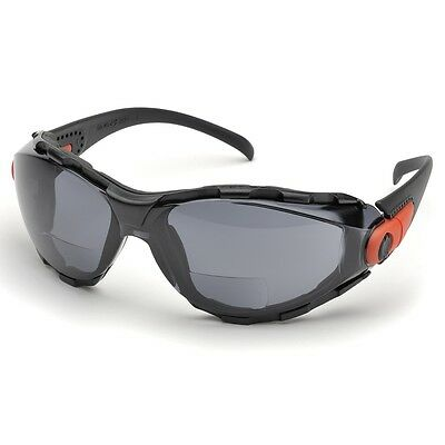 Elvex Bifocal Safety Glasses With 1.5 Gray Anti-fog Lens Black Frame