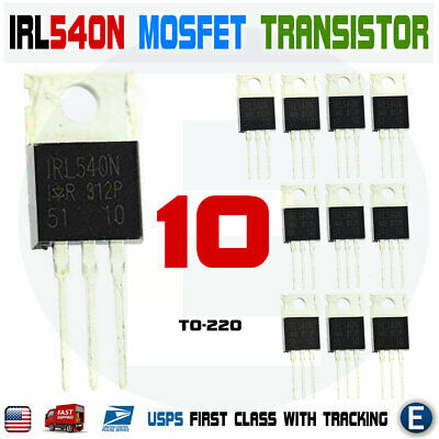 10pcs Irl540 Irl540n Power Transistor Mosfet N-channel To-220 Ir 100v 36a 140w